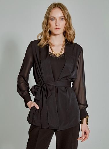 People By Fabrika Şal Yaka Bağlamalı Bluz Siyah